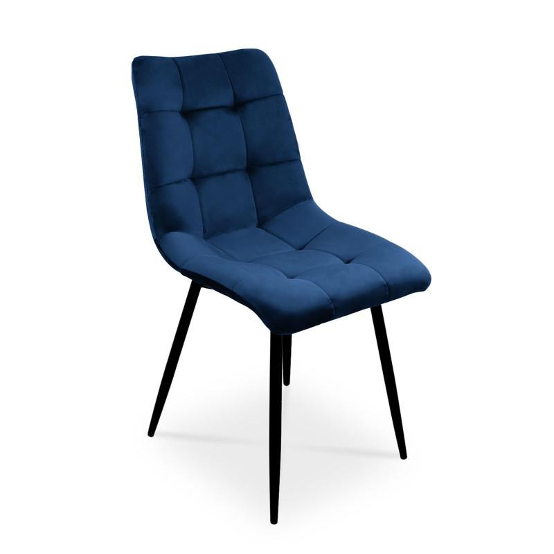 Eleganckie krzesło Ben do salonu lub jadalni granatowy / noga czarna