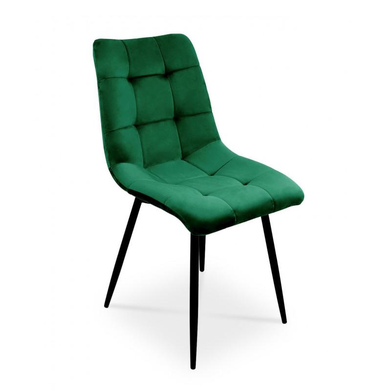 Nowoczesne krzesło Ben do salonu lub jadalni - zieleń butelkowa / noga czarna