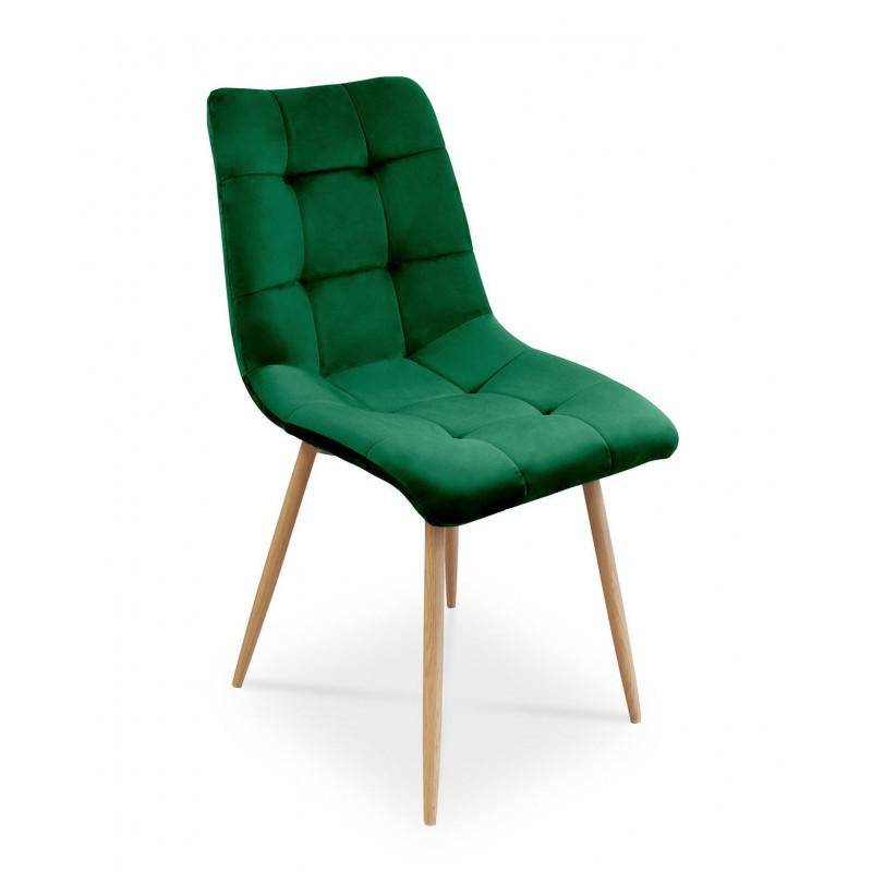 Tapicerowane krzesło Ben do salonu lub jadalni - zieleń butelkowa / noga dąb