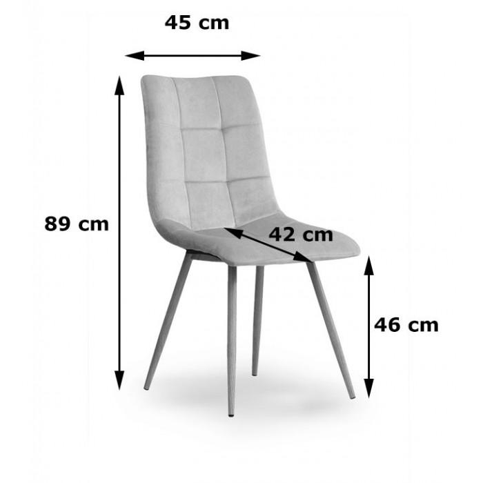Zestaw nowoczesnych krzeseł tapicerowanych do salonu i jadalni BEN ciemno szare z nogą dąb - wymiary