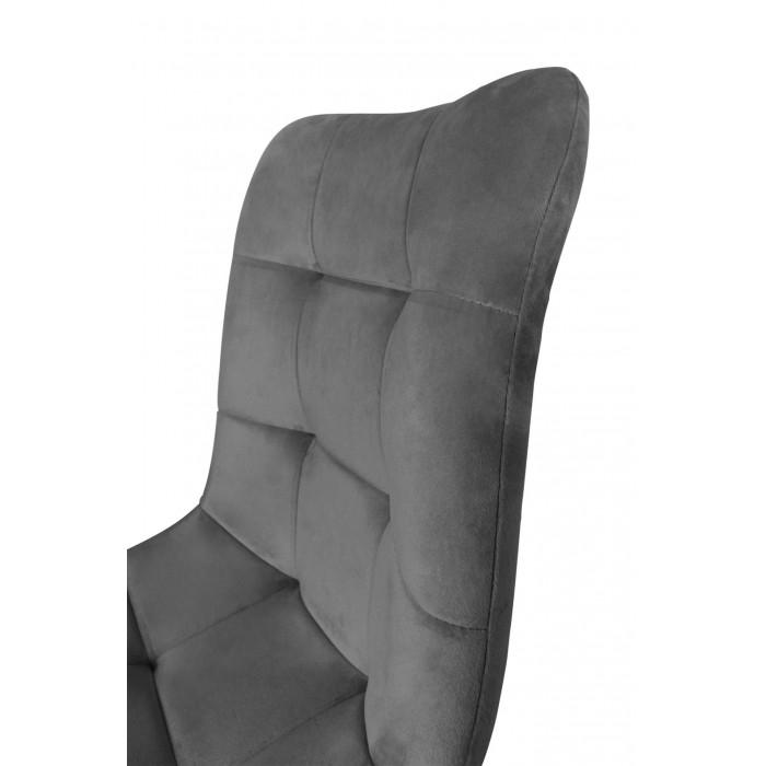 Zestaw nowoczesnych krzeseł tapicerowanych do salonu i jadalni BEN ciemno szare z nogą dąb - oparcie