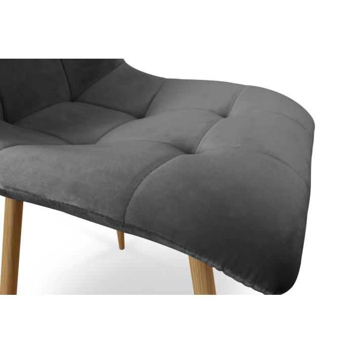 Zestaw nowoczesnych krzeseł tapicerowanych do salonu i jadalni BEN ciemno szare z nogą dąb - siedzisko