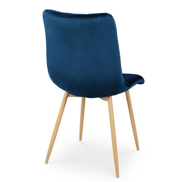 Zestaw eleganckich krzeseł Ben do jadalni - granatowy / noga dąb
