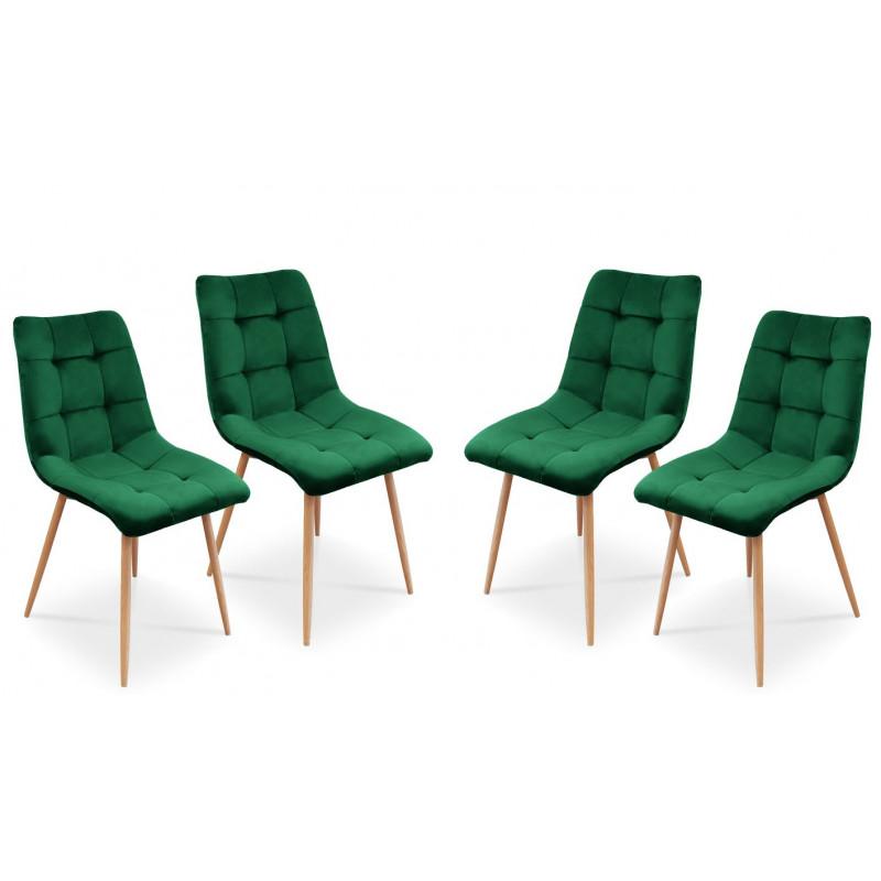 Zestaw krzeseł tapicerowanych Ben do jadalni lub salonu - zielony / noga dąb