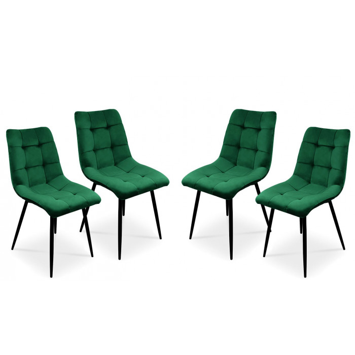 Zestaw krzeseł tapicerowanych BEN do jadalni -  zielony / noga czarna