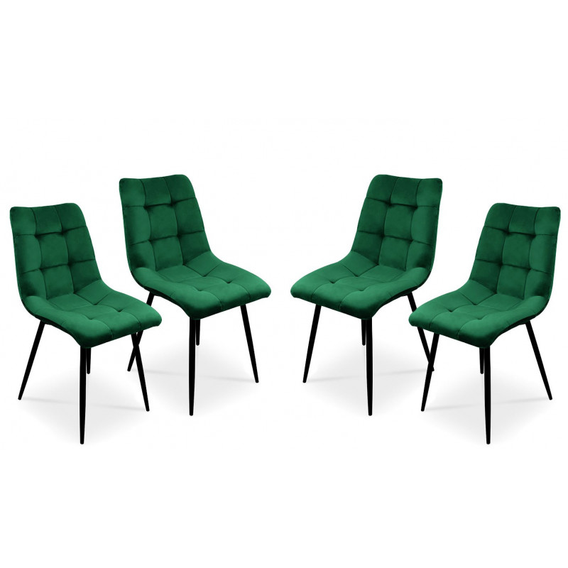 Zestaw 4 krzeseł tapicerowanych BEN do jadalni -  zielony / noga czarna