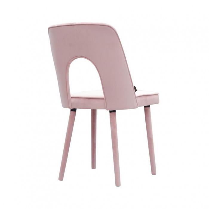 Eleganckie krzesło tapicerowane Augusto z drewnianymi nogami