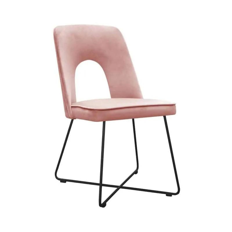 Wygodne krzesło tapicerowane Augusto Cross na metalowych nogach
