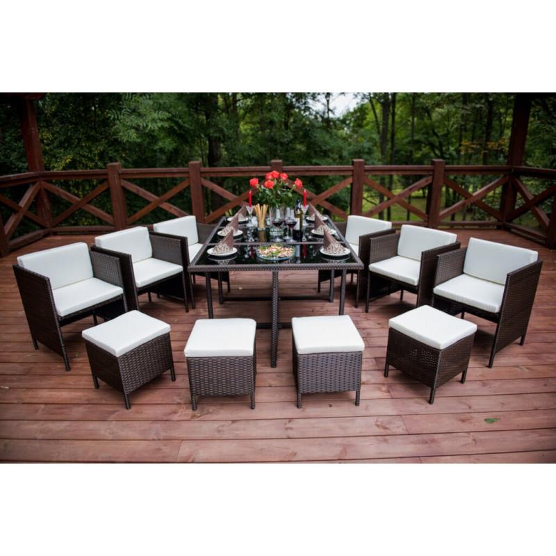 Duży zestaw mebli stołowych do ogrodu CRISTALLO GRANDE