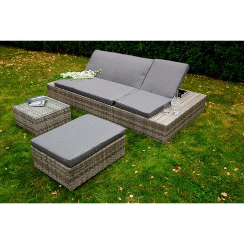 Eleganckie łóżko do ogrodu z technorattanu DIABOLICO