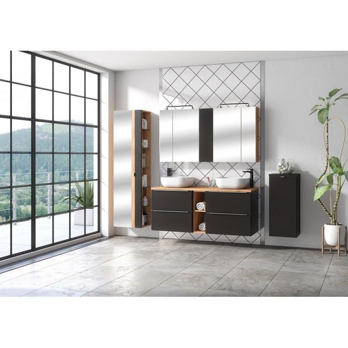 Zestaw mebli łazienkowych Capri Cosmos 140-01 / czarny mat + złoty dąb craft