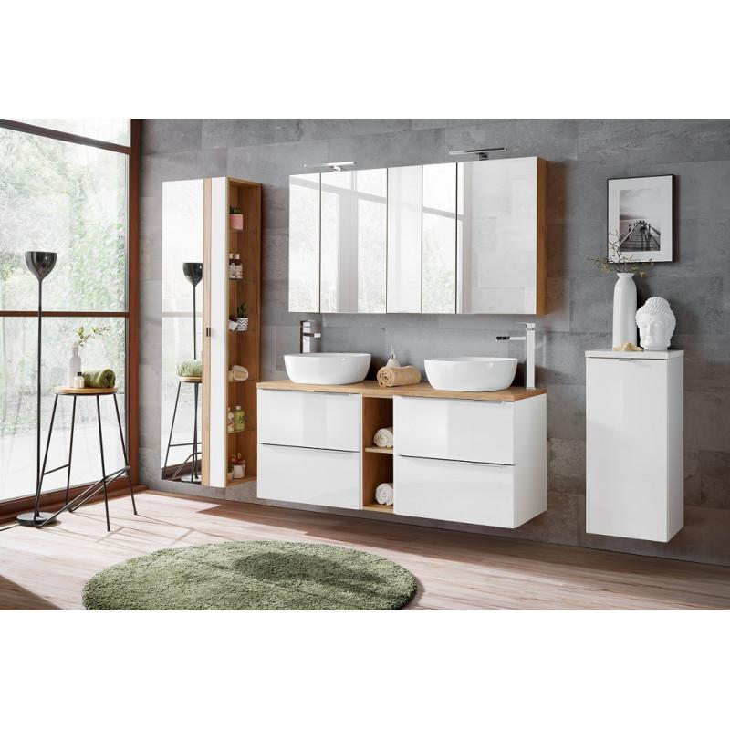 Zestaw mebli łazienkowych Capri White 140-1 / biały połysk + złoty craft dąb