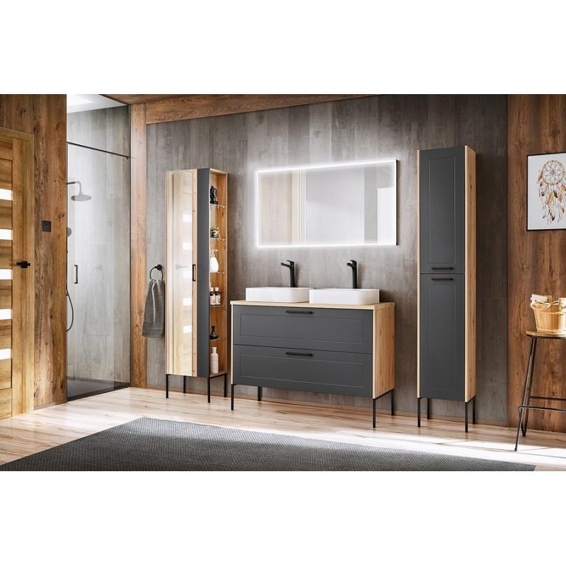 Zestaw mebli łazienkowych Madera Grey 120-02 - grafit + dąb artisan