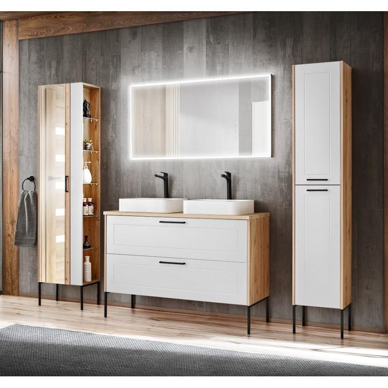 Zestaw mebli łazienkowych Madera White 120-02 - biały polarny + dąb artisan