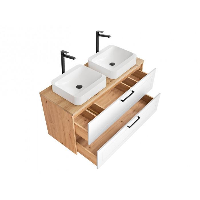 Szafka pod umywalkę Madera White 2S / 120 cm - biały polarny + dąb artisan