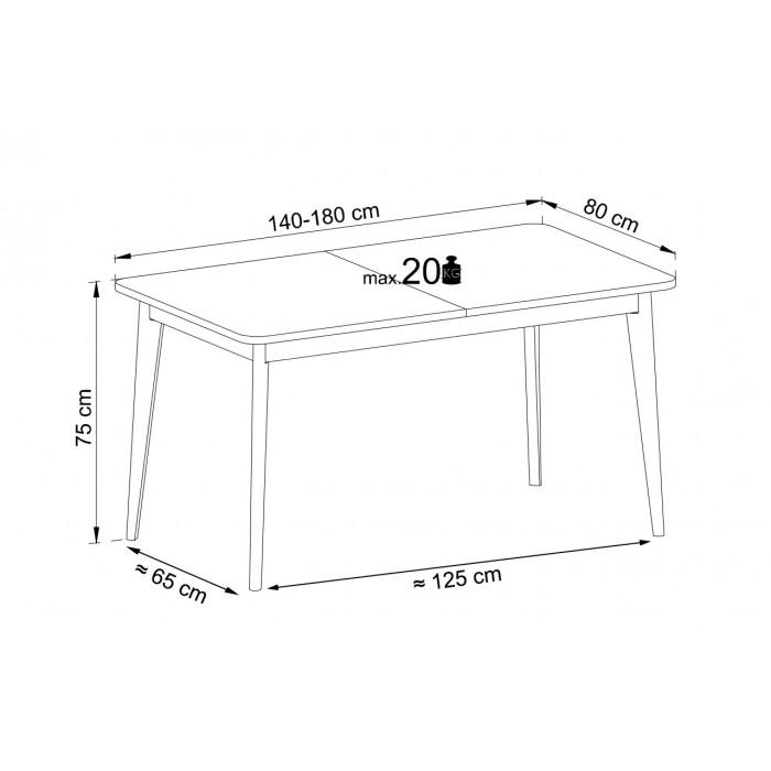 NODIS -  Stół do salonu NST140 rozkładany w kolorze dąb artisan