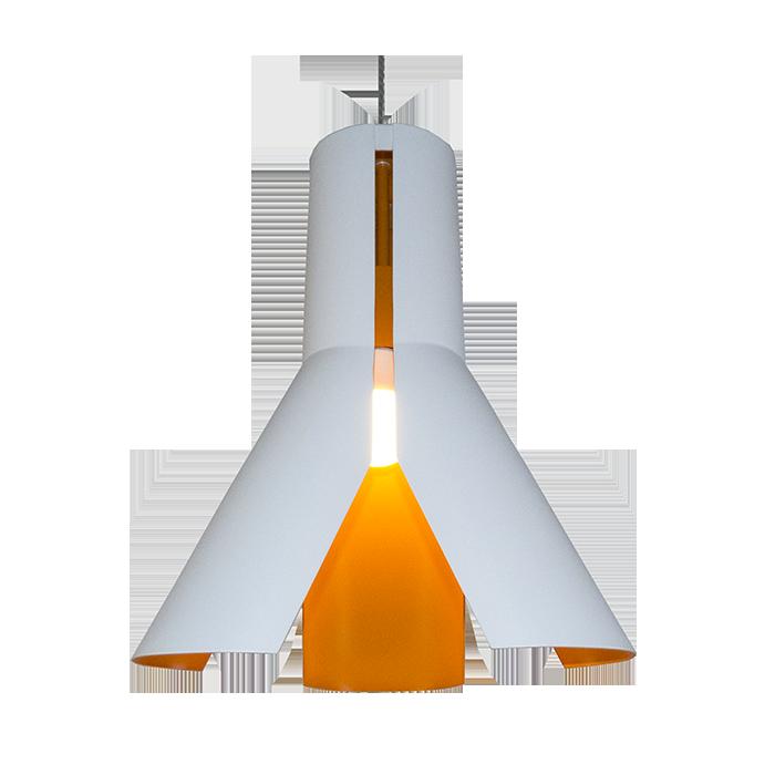 Origami Design No.1 - Biały    Chrom    Pomarańcz