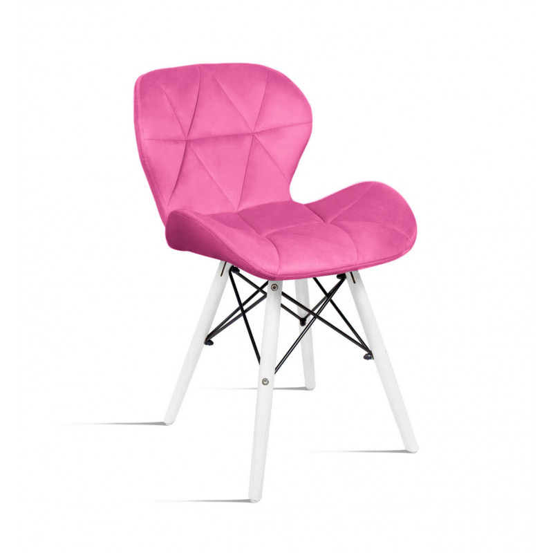 krzesło Milo Velvet różowy - noga biała