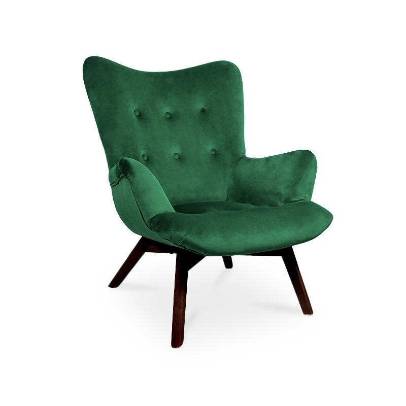 Fotel ANGEL zielony/ noga orzech/ KR19